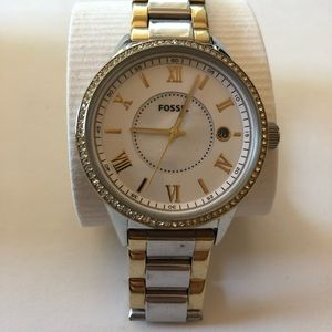 Gold and Silver Fossil Women's Wristwatch